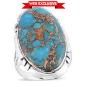Santa Fe Style Mojave Blue Turquoise Sterling Silver Ring (Size 10.0) TGW 4.50 cts.