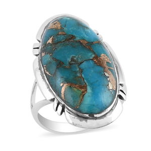 Santa Fe Style Mojave Blue Turquoise Sterling Silver Ring (Size 7.0) TGW 4.50 cts.
