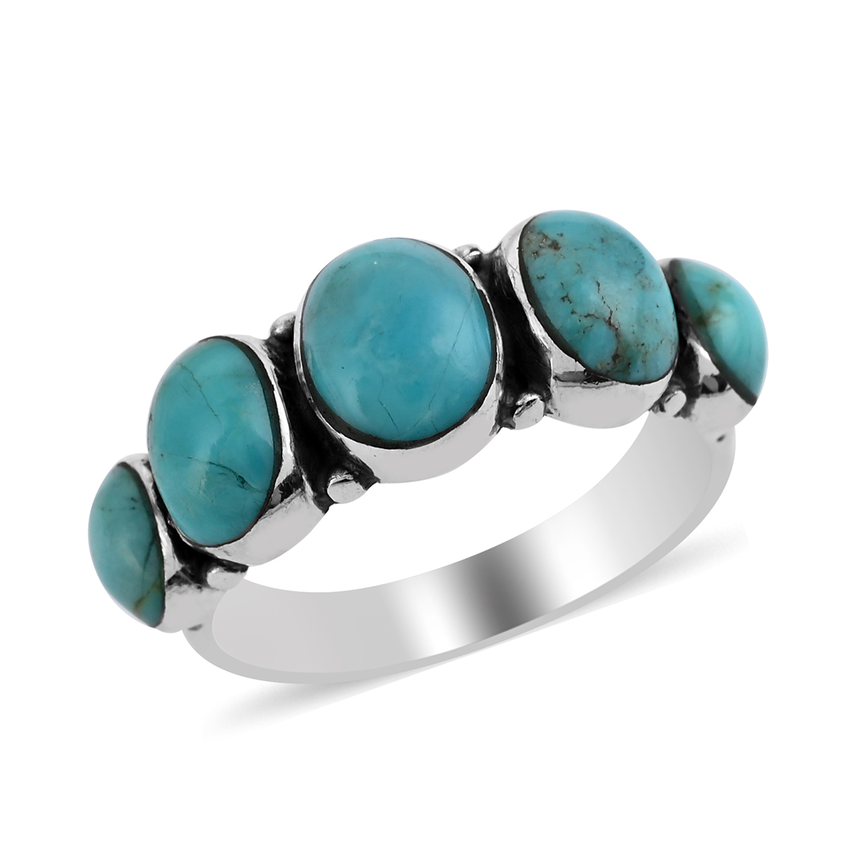 Santa Fe Style Kingman Turquoise Sterling Silver Band Ring (Size 11.0) TGW 1.25 cts.