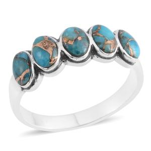 Santa Fe Style Mojave Blue Turquoise Sterling Silver Band Ring (Size 10.0) TGW 1.25 cts.