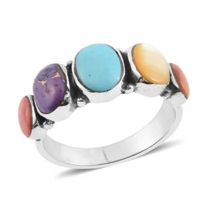 Santa Fe Style Multi Turquoise, Multi Gemstone Sterling Silver Ring (Size 8.0) TGW 0.75 cts.