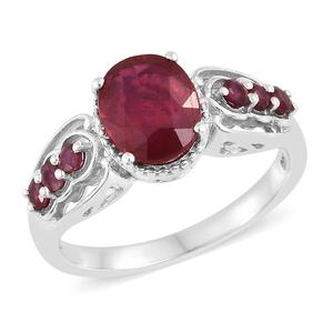 Niassa Ruby Platinum Over Sterling Silver Ring (Size 10.0) TGW 4.13 cts.