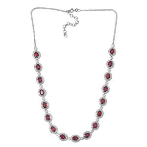 Niassa Ruby, Cambodian Zircon Platinum Over Sterling Silver Necklace (18 in) TGW 21.52 cts.