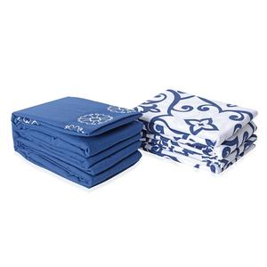 Blue and White 100% Polyester Damask & Flower Embroidered Pattern 8 Pieces Sheet Set (Queen)