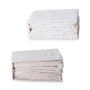 Cream and White 100% Polyester Damask & Embroidered Pattern 8 Pieces Sheet Set (King)