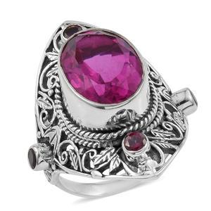 Artisan Crafted Radiant Orchid Quartz, Orissa Rhodolite Garnet Sterling Silver Openwork Knuckle Ring (Size 7.0) ts. TGW 11.05 cts.