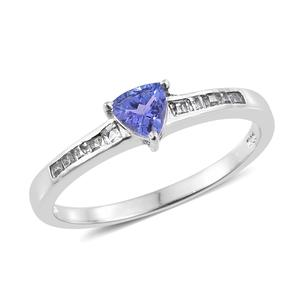Premium AAA Tanzanite, White Topaz Platinum Over Sterling Silver Ring (Size 8.0) TGW 0.75 cts.