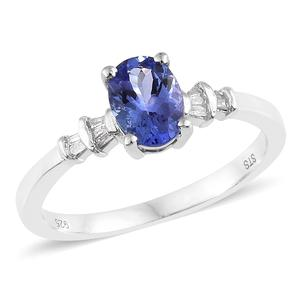 Premium AAA Tanzanite, Diamond Platinum Over Sterling Silver Ring (Size 8.0) TDiaWt 0.08 cts, TGW 1.00 cts.