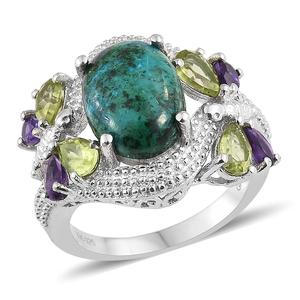 GP Table Mountain Shadowkite, Multi Gemstone Platinum Over Sterling Silver Ring (Size 5.0) TGW 9.00 cts.