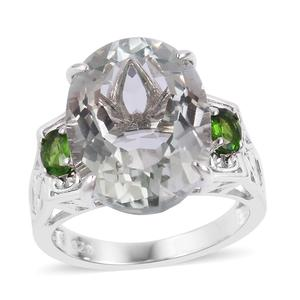 Green Amethyst, Russian Diopside Sterling Silver Ring (Size 8.0) TGW 8.61 cts.