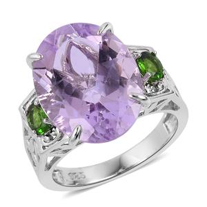 Rose de France Amethyst, Russian Diopside Sterling Silver Ring (Size 7.0) TGW 9.26 cts.