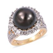 Tahitian Pearl (11-11.5 mm), White Zircon 14K YG Over and Sterling Silver Cocktail Ring (Size 7.0) TGW 2.32 cts.