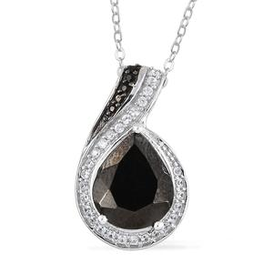 Shungite, Multi Gemstone Platinum Over Sterling Silver Pendant With Chain (20 in) TGW 2.33 cts.