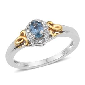 Montana Sapphire, Cambodian Zircon 14K YG and Platinum Over Sterling Silver Ring (Size 5.0) TGW 0.78 cts.