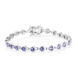 Dan's Jewelry Selection Tanzanite Platinum Over Sterling Silver Trillion Bracelet (7.25 In) TGW 2.85 cts.