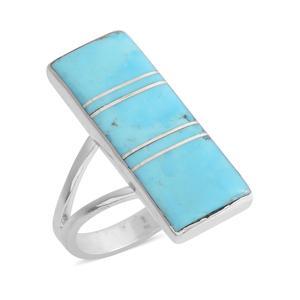 Santa Fe Style Kingman Turquoise Sterling Silver Elongated Split Ring (Size 7.0) TGW 2.50 cts.