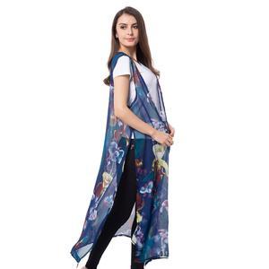 Navy 100% Polyester Flower Pattern Long Shape Vest (21x46 in)