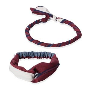 Burgundy 100% Polyester Headband and Magnetic Clasp Necklace (18 in)