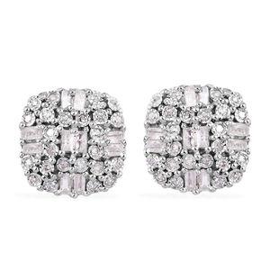 GP Diamond, Kanchanaburi Blue Sapphire Platinum Over Sterling Silver Earrings TDiaWt 0.50 cts, TGW 0.52 cts.