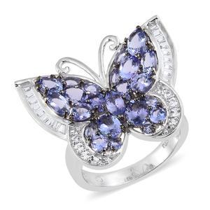 Tanzanite, White Topaz Platinum Over Sterling Silver Butterfly Ring (Size 8.0) TGW 5.46 cts.