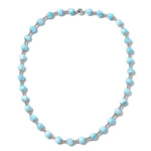 Doorbuster Larimar Beads Sterling Silver Necklace (20 in) TGW 159.50 cts.
