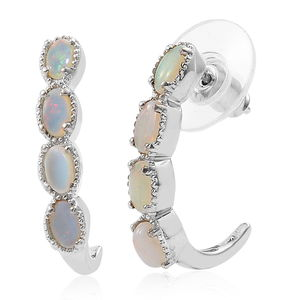 KARIS Collection - Australian White Opal Platinum Bond Brass J-Hoop Earrings TGW 1.10 cts.