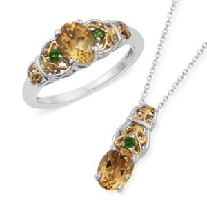 Brazilian Citrine, Russian Diopside 14K YG and Platinum Over Sterling Silver Ring (Size 7) and Pendant With Chain (20 in) TGW 2.60 cts.