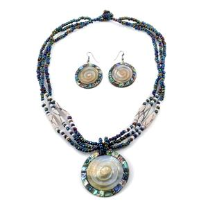 Abalone Shell, Carved Gray Shell, Glass Beads Stainless Steel Earrings and Multi Strand Necklace (20 in)