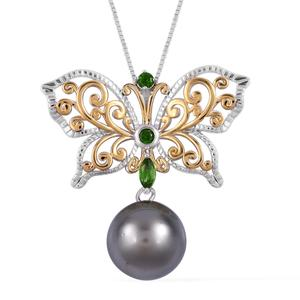 Tahitian Pearl (11.5-12 mm), Russian Diopside Vermail YG Over and Sterling Silver Openwork Butterfly Drop Pendant With Chain (18 in) TGW 0.32 cts.