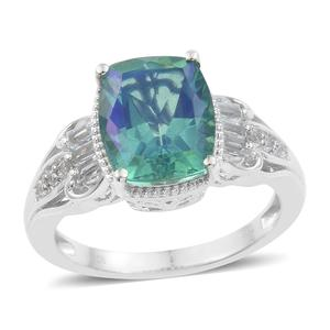 Peacock Quartz, White Topaz Platinum Over Sterling Silver Ring (Size 8.0) TGW 6.35 cts.