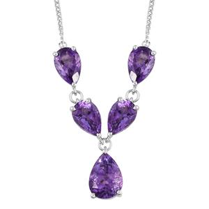 Moroccan Amethyst Platinum Over Sterling Silver Necklace (18 in) TGW 16.75 cts.