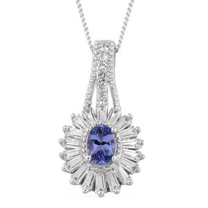 Tanzanite, Cambodian Zircon Platinum Over Sterling Silver Pendant With Chain (20 in) TGW 1.68 cts.