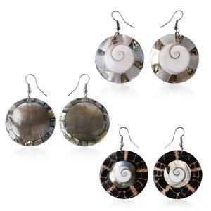 Set of 3 Shell Stainless Steel Dangle Earrings