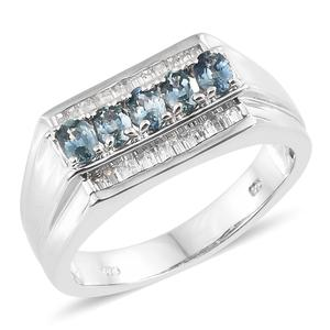 Montana Sapphire, Cambodian Zircon Platinum Over Sterling Silver Men's Signet Ring (Size 12.0) TGW 3.18 cts.