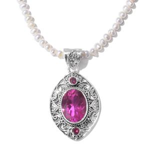Artisan Crafted Radiant Orchid Quartz, Multi Gemstone Platinum Over Sterling Silver Openwork Pendant with Pearl Necklace (20 in) TGW 10.60 cts.