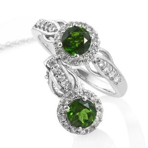 One Time Only Russian Diopside, Cambodian Zircon Platinum Over Sterling Silver Ring (Size 5) and Pendant With Chain (20 in) TGW 2.59 cts.