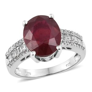 Niassa Ruby, White Topaz Platinum Over Sterling Silver Ring (Size 10.0) TGW 9.72 cts.