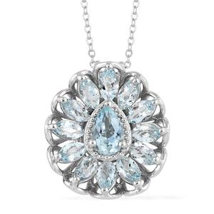 Espirito Santo Aquamarine Platinum Over Sterling Silver Pendant With Chain (20 in) TGW 3.25 cts.