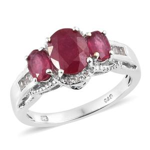 Niassa Ruby, White Topaz Platinum Over Sterling Silver Ring (Size 7.0) TGW 4.50 cts.