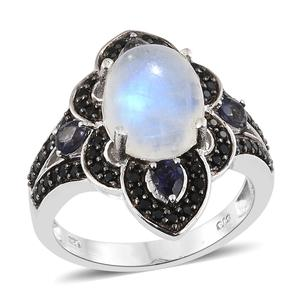 Rainbow Moonstone, Catalina Iolite, Thai Black Spinel Platinum Over Sterling Silver Ring (Size 7.0) TGW 6.91 cts.