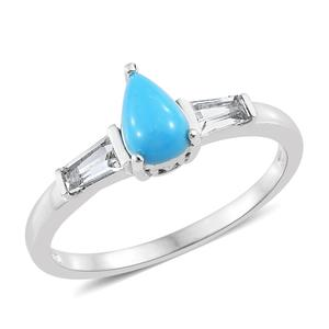 Arizona Sleeping Beauty Turquoise, White Topaz Platinum Over Sterling Silver Ring (Size 8.0) TGW 1.35 cts.