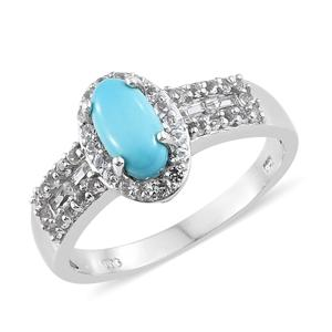 Arizona Sleeping Beauty Turquoise, White Topaz Platinum Over Sterling Silver Ring (Size 10.0) TGW 2.19 cts.