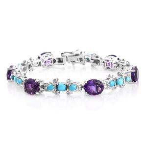 Moroccan Amethyst, Arizona Sleeping Beauty Turquoise Platinum Over Sterling Silver Bracelet (7.25 In) TGW 19.40 cts.