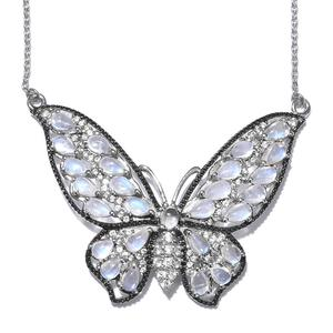 GP Sri Lankan Rainbow Moonstone, Multi Gemstone Platinum Over Sterling Silver Butterfly Pendant With Chain (20 in) TGW 7.84 cts.