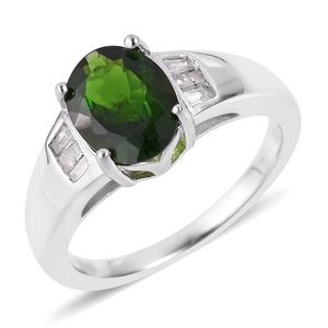 Russian Diopside, Diamond Sterling Silver Ring (Size 5.0) TDiaWt 0.14 cts, TGW 1.99 cts.