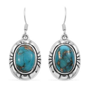 Mojave Blue Turquoise Sterling Silver Earrings TGW 13.02 cts.