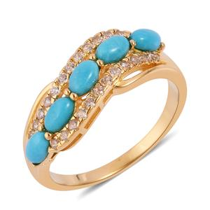 Arizona Sleeping Beauty Turquoise, White Zircon 14K YG Over Sterling Silver Ring (Size 5.0) TGW 1.59 cts.