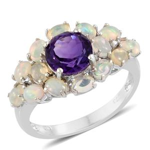 Moroccan Amethyst, Ethiopian Welo Opal Platinum Over Sterling Silver Ring (Size 10.0) TGW 3.29 cts.