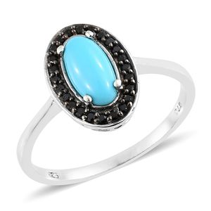 Arizona Sleeping Beauty Turquoise, Thai Black Spinel Platinum Over Sterling Silver Ring (Size 9.0) TGW 1.40 cts.