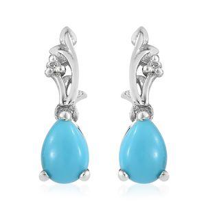 Arizona Sleeping Beauty Turquoise, Cambodian Zircon Platinum Over Sterling Silver Drop Earrings TGW 1.40 cts.